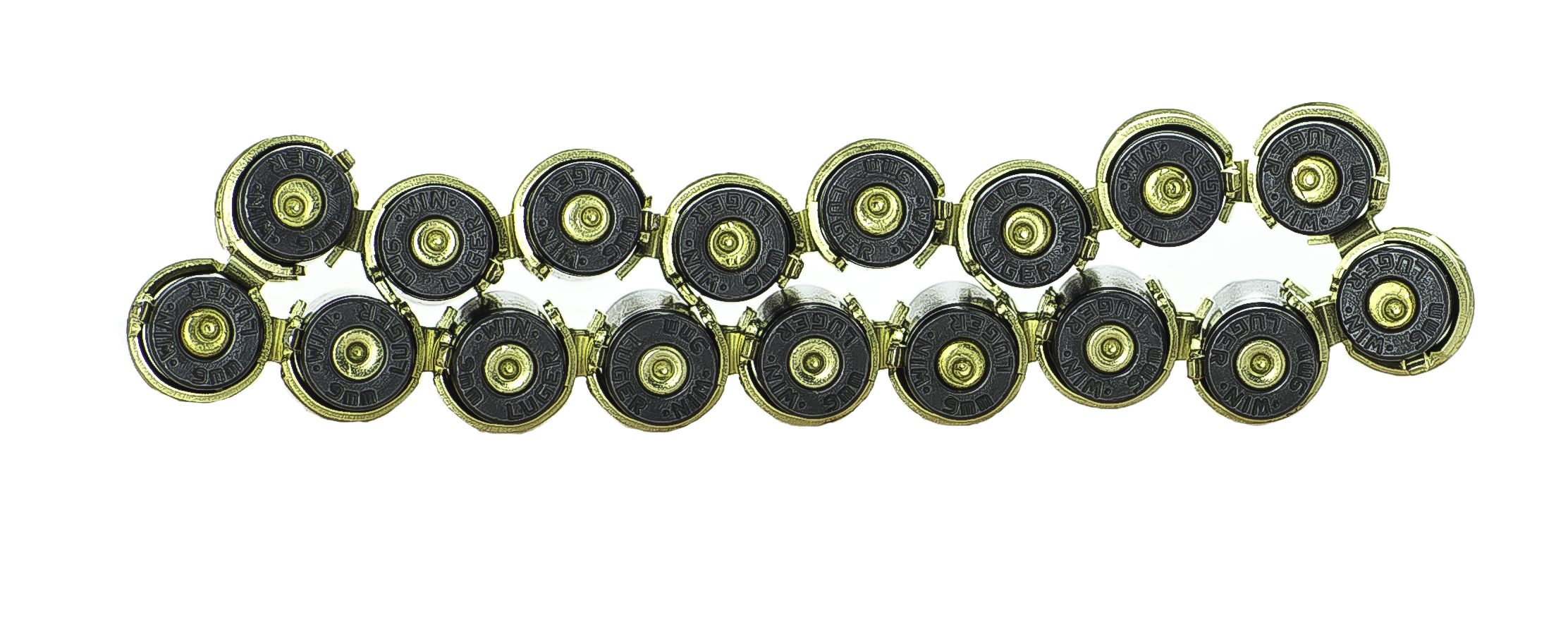 Gold on Black 9mm linked bullet bracelet with DRT lead free projectiles back