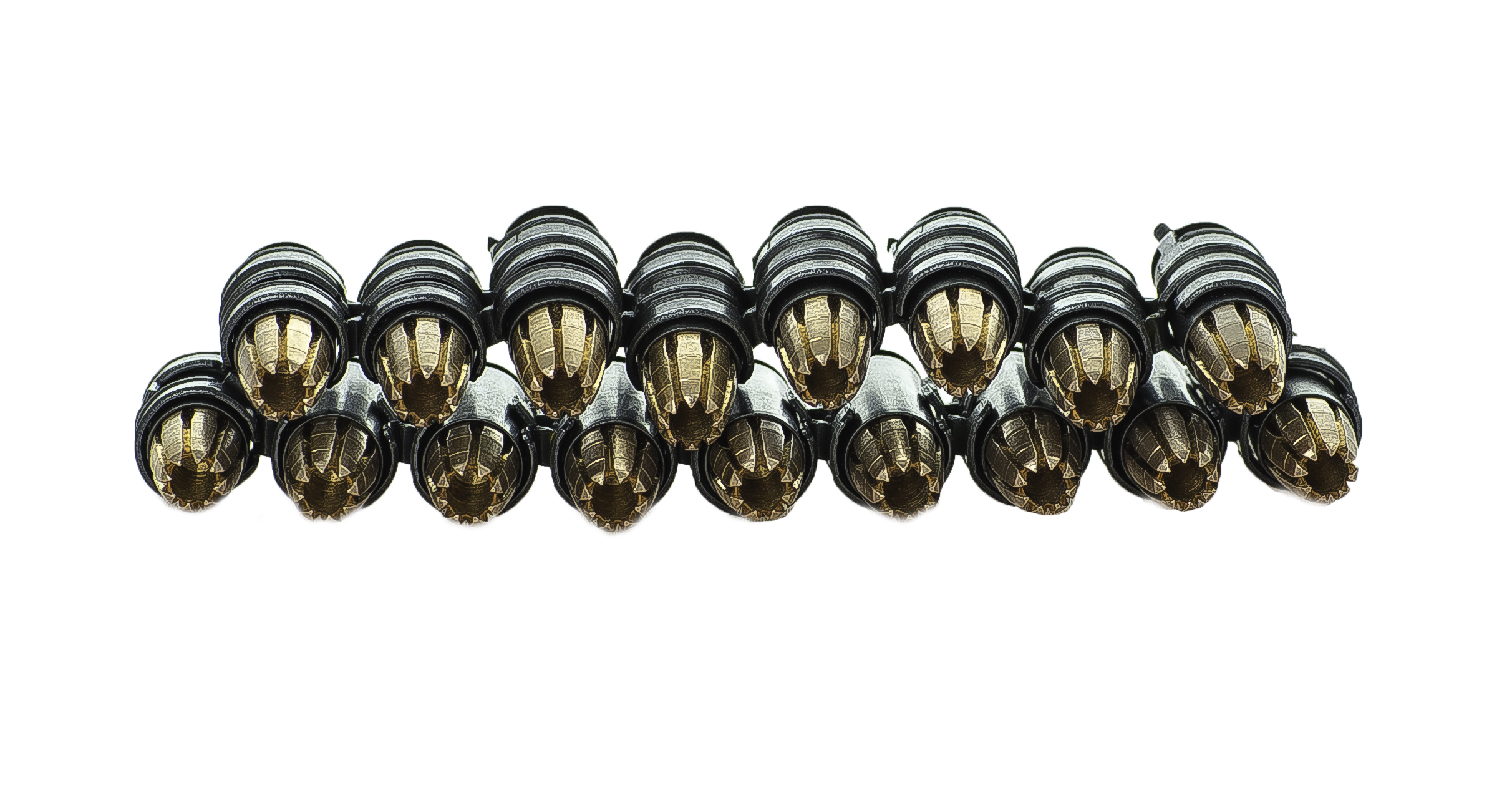 Black on Black 9mm linked bullet bracelet with RIP solid copper machined lead free hollow point projectiles