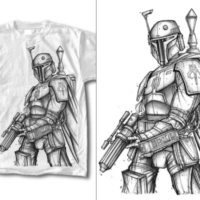 Boba The Fett Line Art TShirt